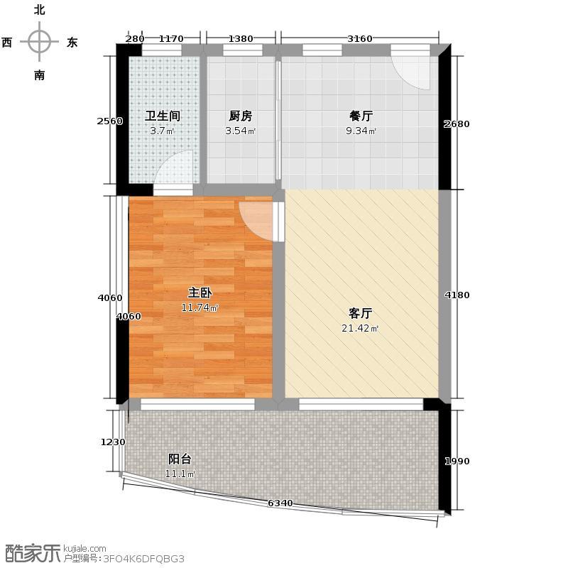 鲁能三亚湾66.91㎡美丽五区C楼C2户型1室2厅1卫
