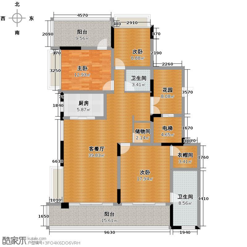 海棠福湾一号165.00㎡公寓D1户型3室2厅2卫