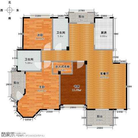 水岸新都花苑3室1厅2卫1厨116.65㎡户型图