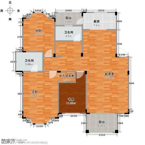 水岸新都花苑3室0厅2卫0厨124.71㎡户型图