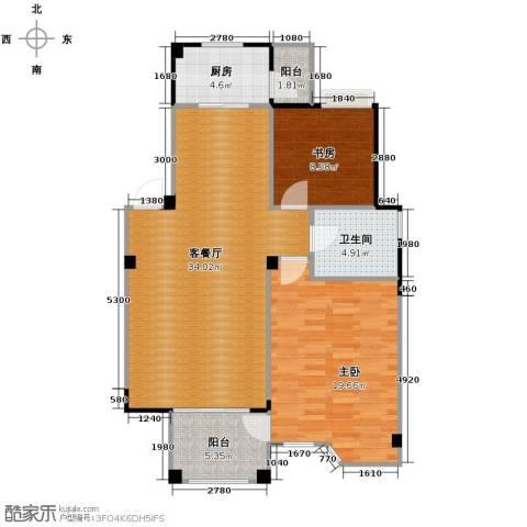 水岸新都花苑2室1厅1卫1厨88.00㎡户型图