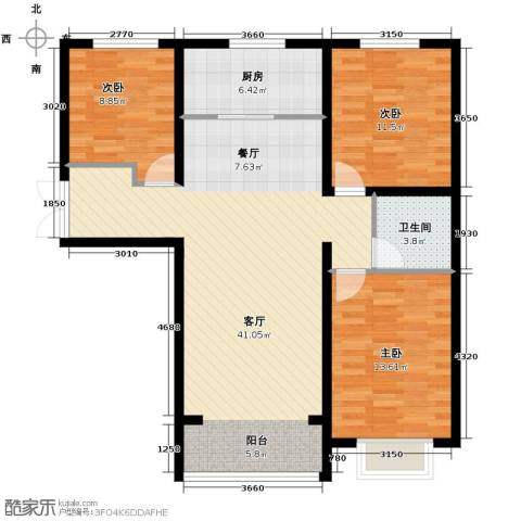 紫睿天和3室2厅1卫0厨118.00㎡户型图