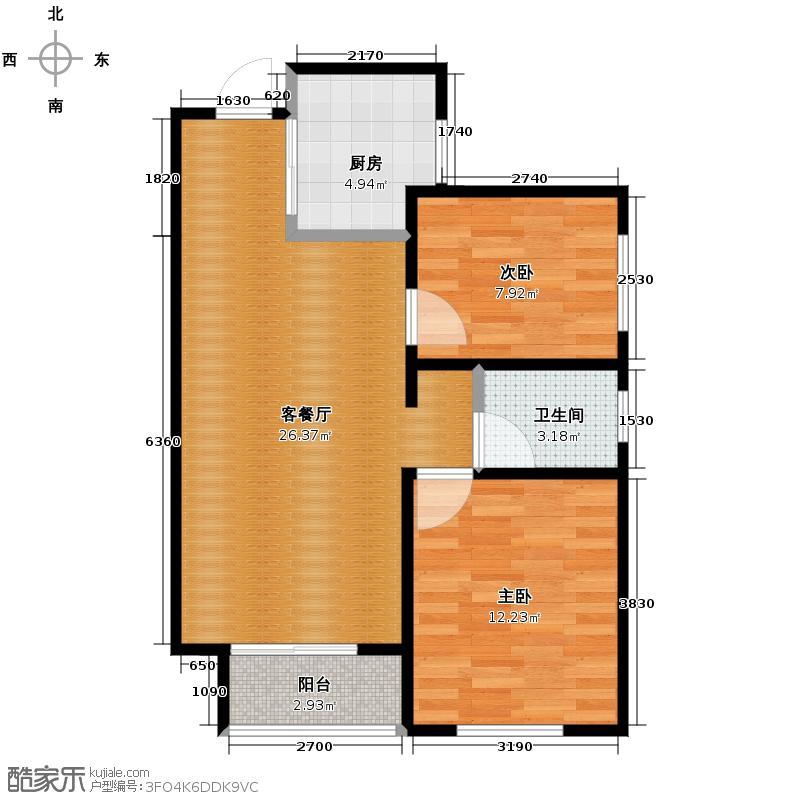 月珑湾79.86㎡A户型2室2厅1卫