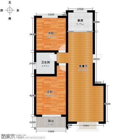 心海湾二期2室2厅1卫0厨96.00㎡户型图