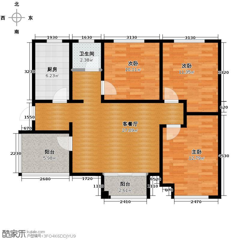 月珑湾99.23㎡B户型3室2厅1卫