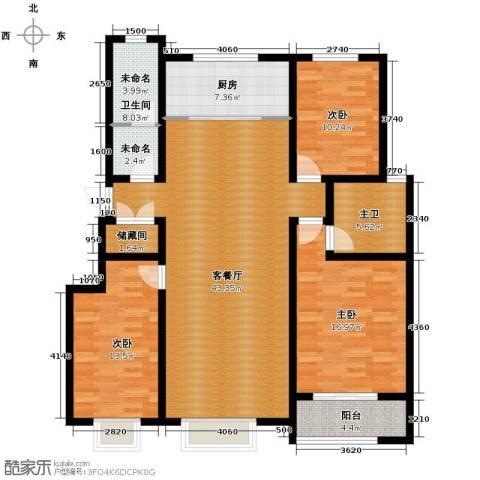 心海湾二期3室2厅2卫0厨136.00㎡户型图