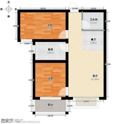 紫睿天和2室2厅1卫0厨81.00㎡户型图