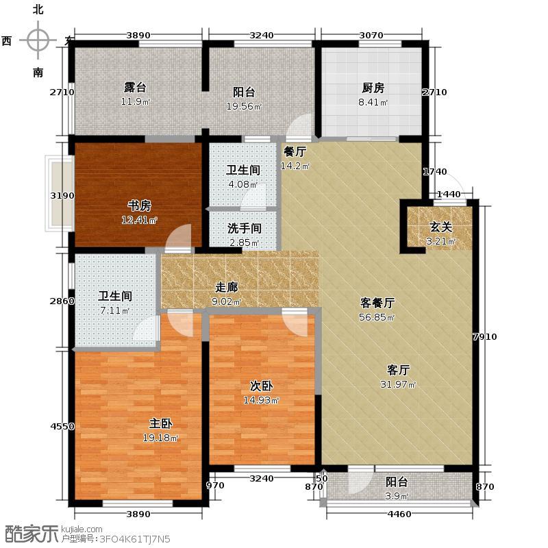 华润置地凯旋门141.00㎡户型3室1厅2卫1厨