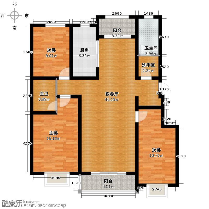 心海湾二期132.98㎡B户型3室2厅2卫