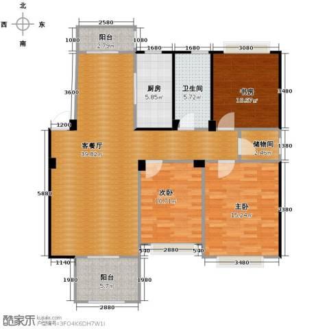 水岸新都花苑3室1厅1卫1厨110.00㎡户型图