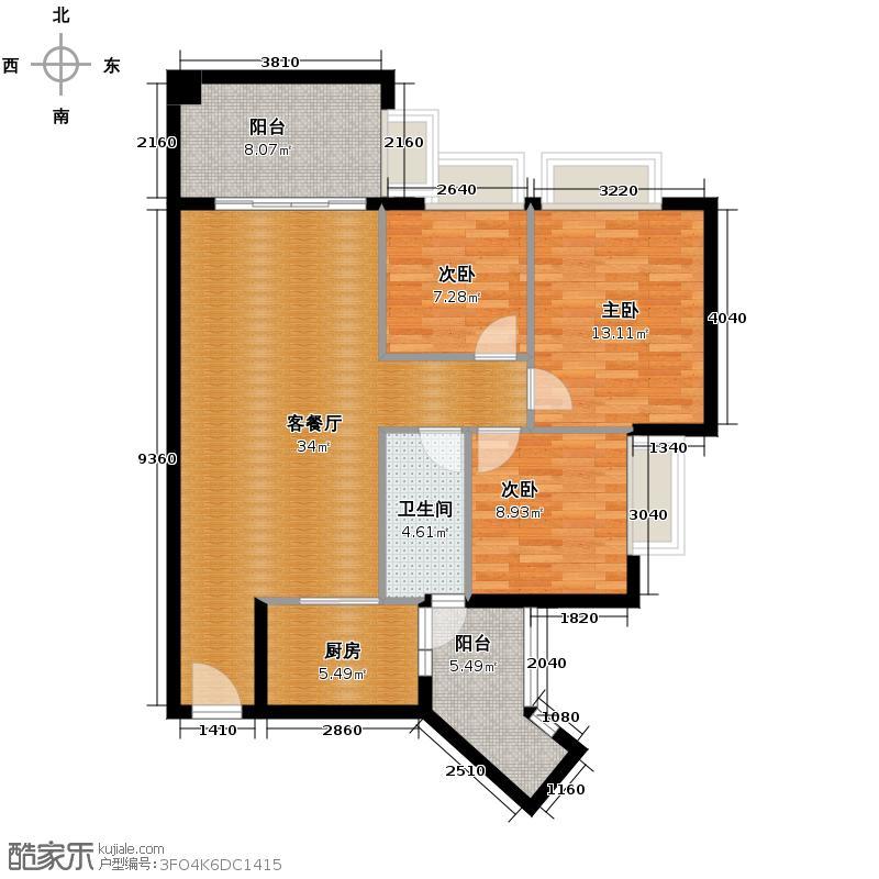 佛奥湾104.00㎡5座04单元户型3室2厅1卫