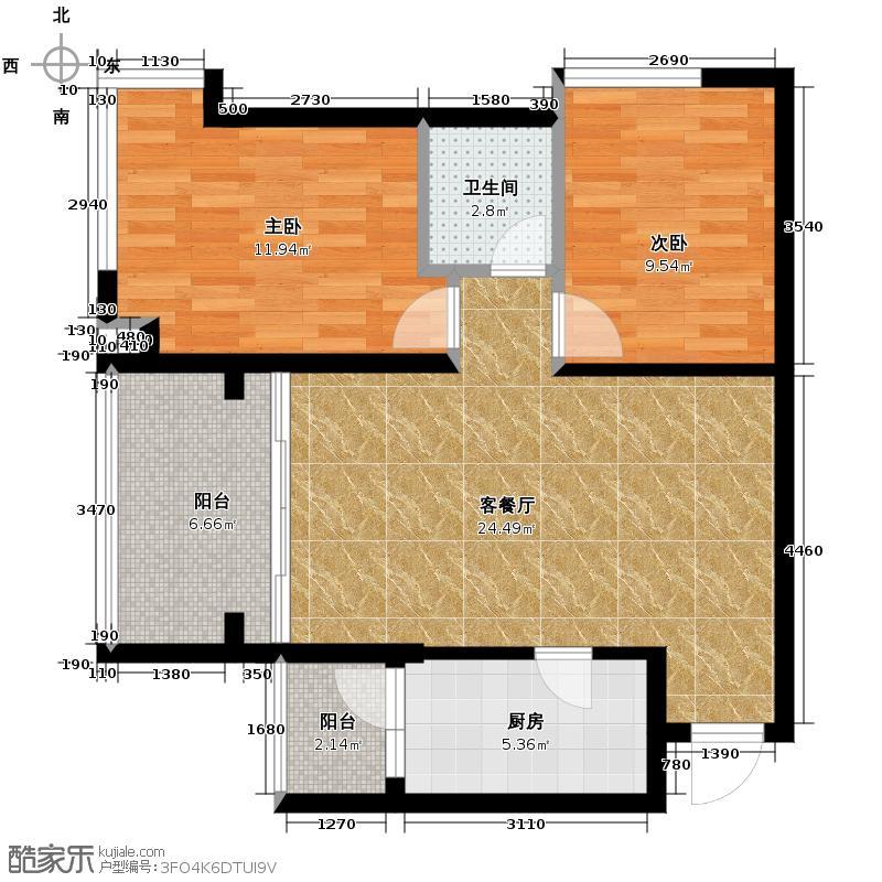 怡翠世嘉花园74.43㎡11座04单位户型2室1厅1卫1厨