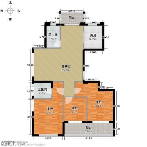 曙光之城3室1厅2卫1厨138.00㎡户型图