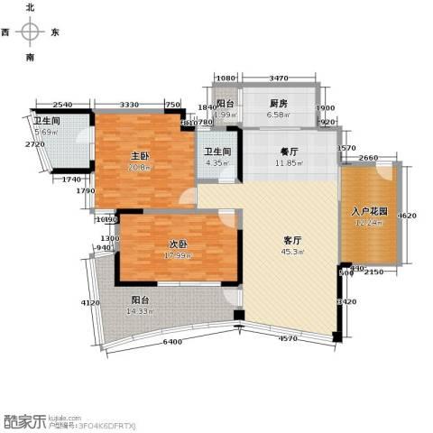 鲁能三亚湾2室2厅2卫0厨129.27㎡户型图