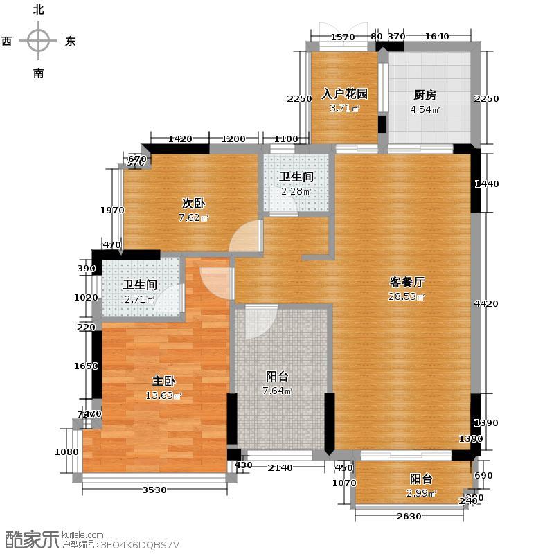 中恒海晖城91.25㎡三期爱琴湾41栋03单元户型2室2厅2卫