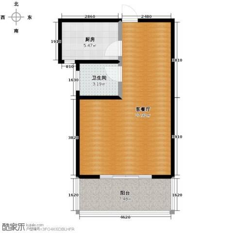 江南鸿郡1室1厅1卫0厨58.00㎡户型图