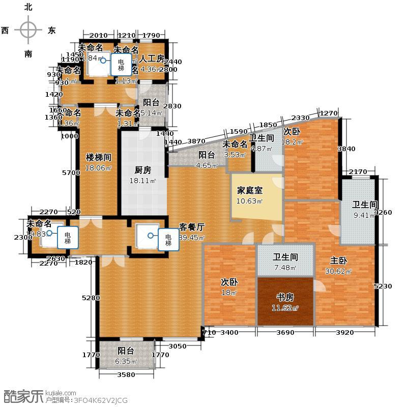 东方润园270.00㎡户型4室1厅3卫
