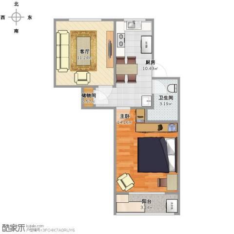 运光新村1室1厅1卫1厨59.00㎡户型图