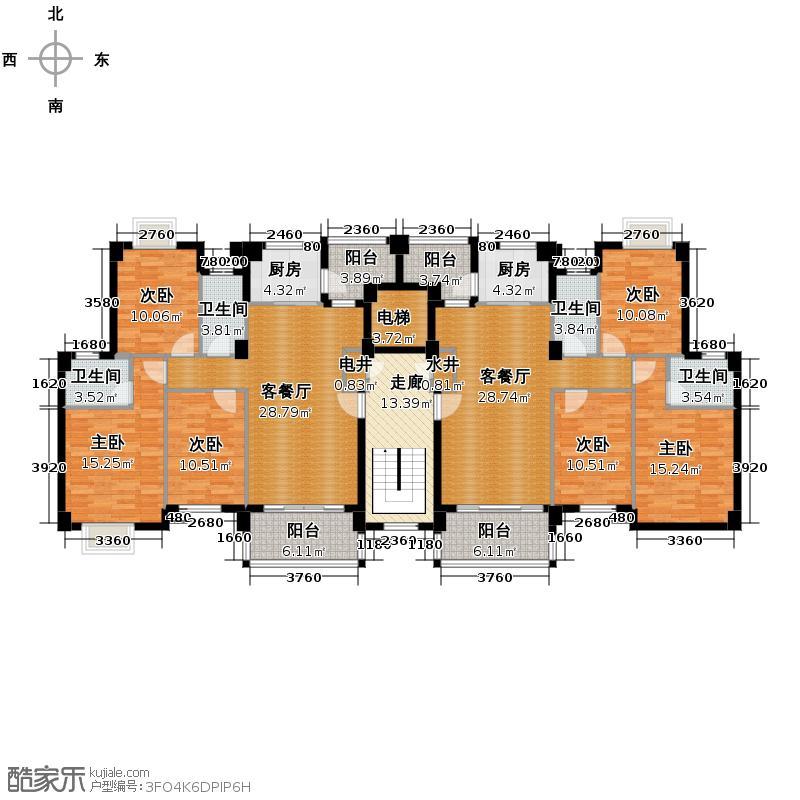 狮山阳光嘉园218.47㎡城宇名轩3座2-8层平面图户型10室