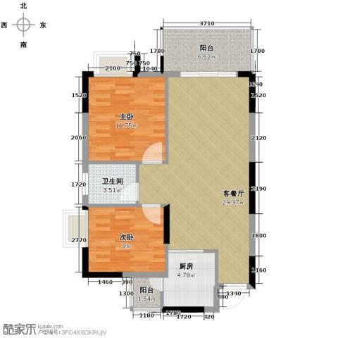 康怡花园2室1厅1卫1厨81.00㎡户型图
