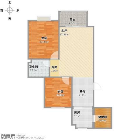 高速仁和盛庭2室1厅1卫1厨87.00㎡户型图