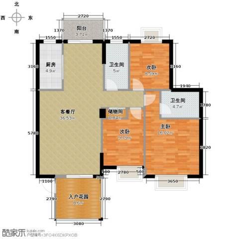 康怡花园3室1厅2卫1厨122.00㎡户型图