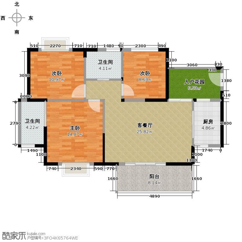 南海阳光110.00㎡D户型3室1厅2卫1厨