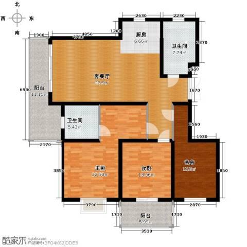 金海・香滨湾3室1厅2卫0厨145.00㎡户型图