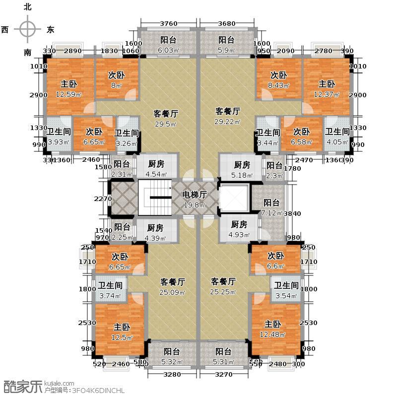 凯蓝名都339.85㎡01、02户03、05户2、6、10号楼二至八层平面图户型10室