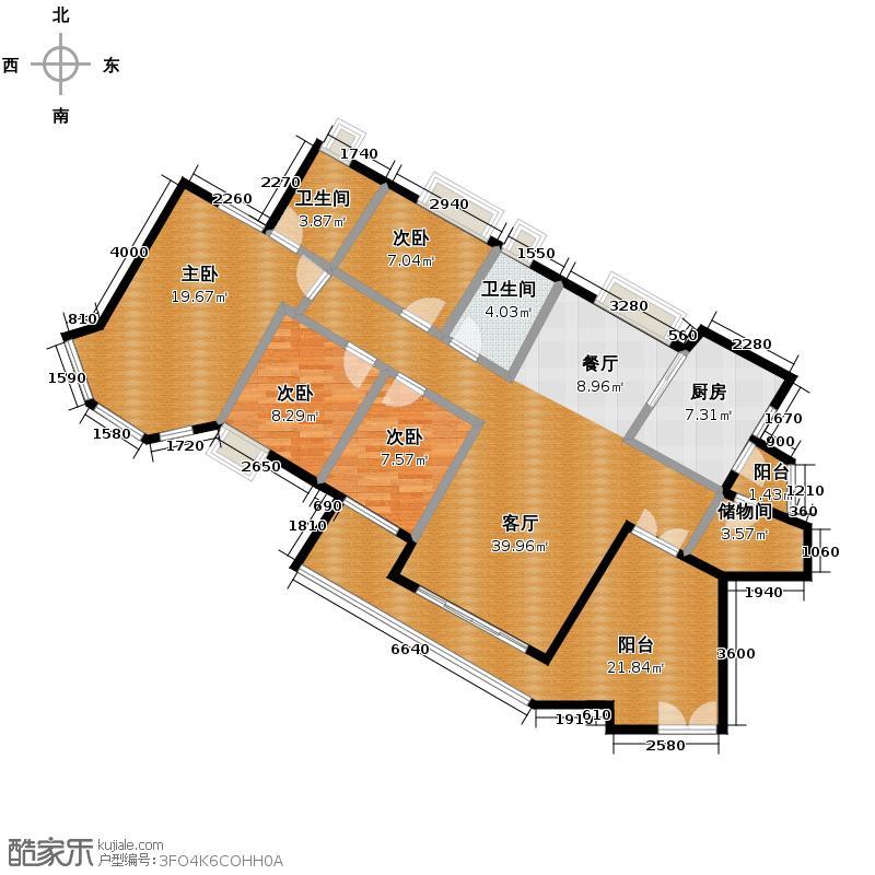 颐澳湾142.00㎡3座8-28层偶数层02单元户型5室2厅2卫