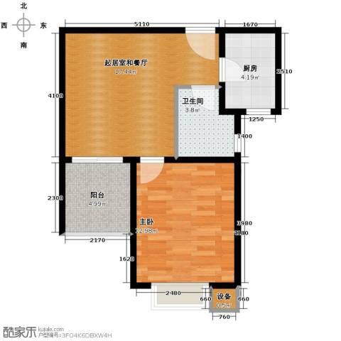 珠峰国际花园三期1室0厅1卫1厨61.00㎡户型图