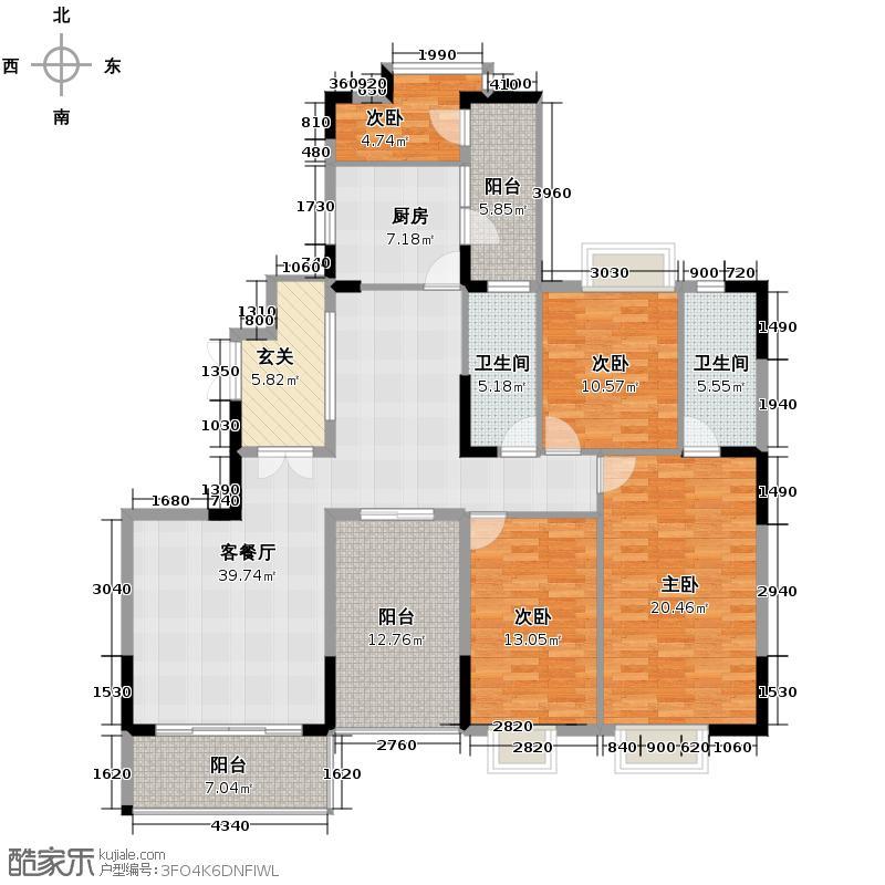 博澳城132.00㎡2期A2单位户型4室2厅2卫