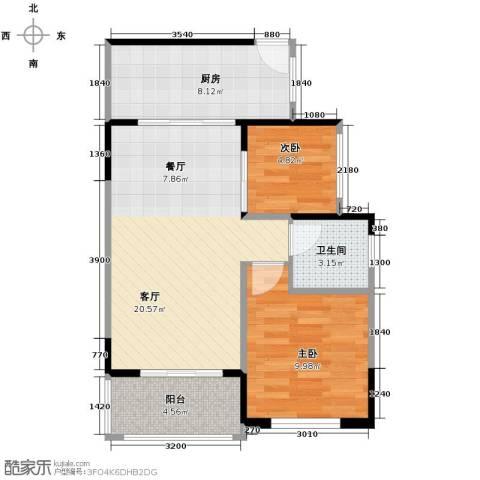 25度阳光2室2厅1卫0厨69.00㎡户型图