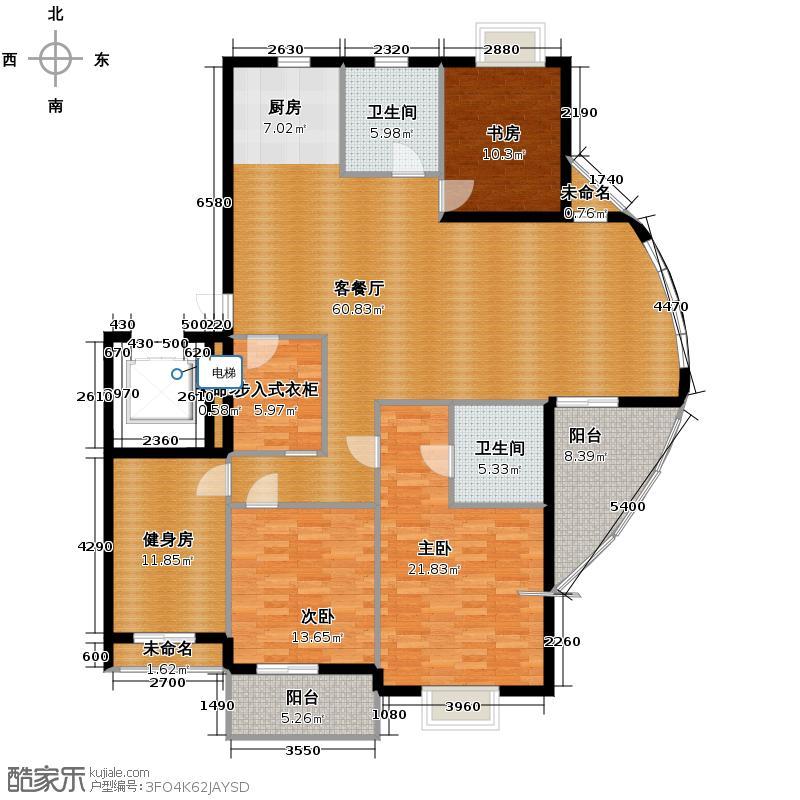 金海香滨湾180.00㎡户型3室1厅2卫