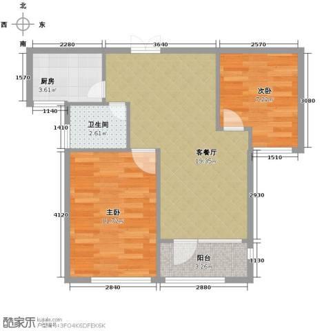 瑞鸿名邸2室1厅1卫1厨66.00㎡户型图
