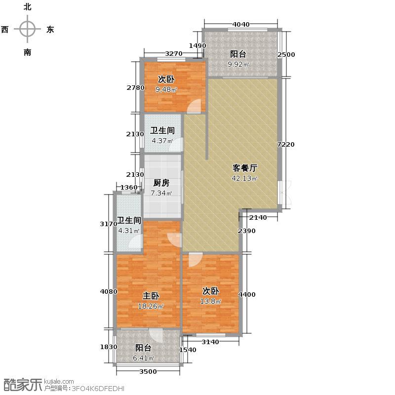 瑞鸿名邸126.82㎡C1户型3室1厅2卫1厨