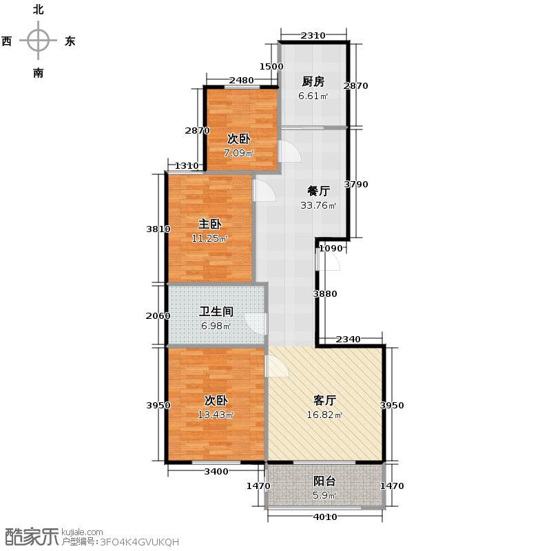 左岸明珠111.10㎡F户型3室1厅1卫1厨