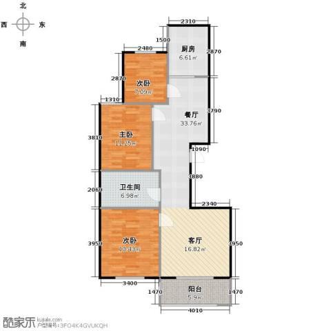 左岸明珠3室1厅1卫1厨111.00㎡户型图