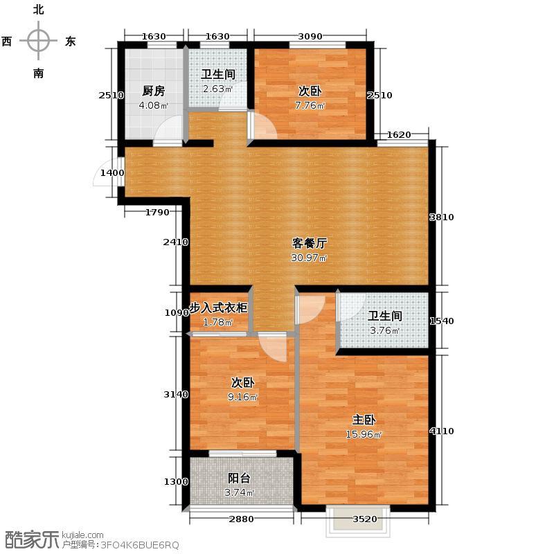紫熙东苑113.38㎡A5户型3室2厅2卫
