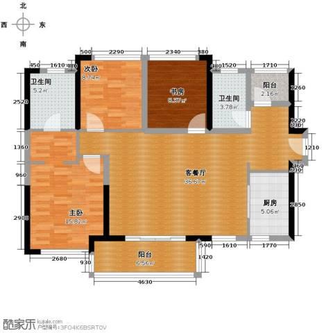 万科缤纷四季3室1厅2卫1厨92.37㎡户型图