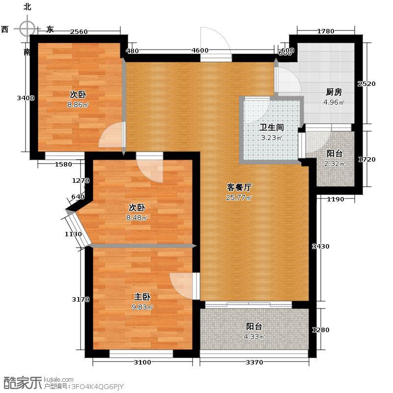 成都国韵村78.21㎡G户型3室1厅1卫1厨