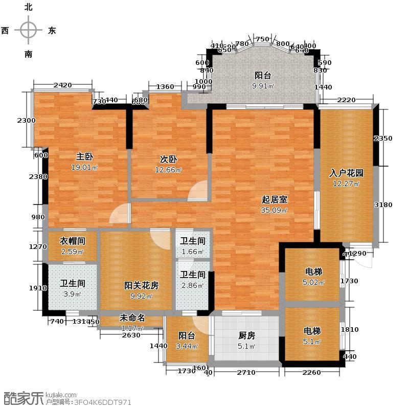 尚湖湾114.00㎡12座04单位户型3室2厅2卫