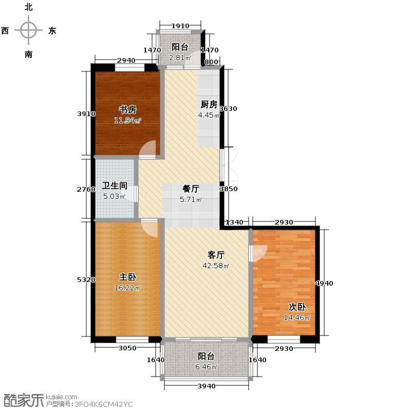 好民居滨江新城86.76㎡二期A12座户型3室2厅1卫