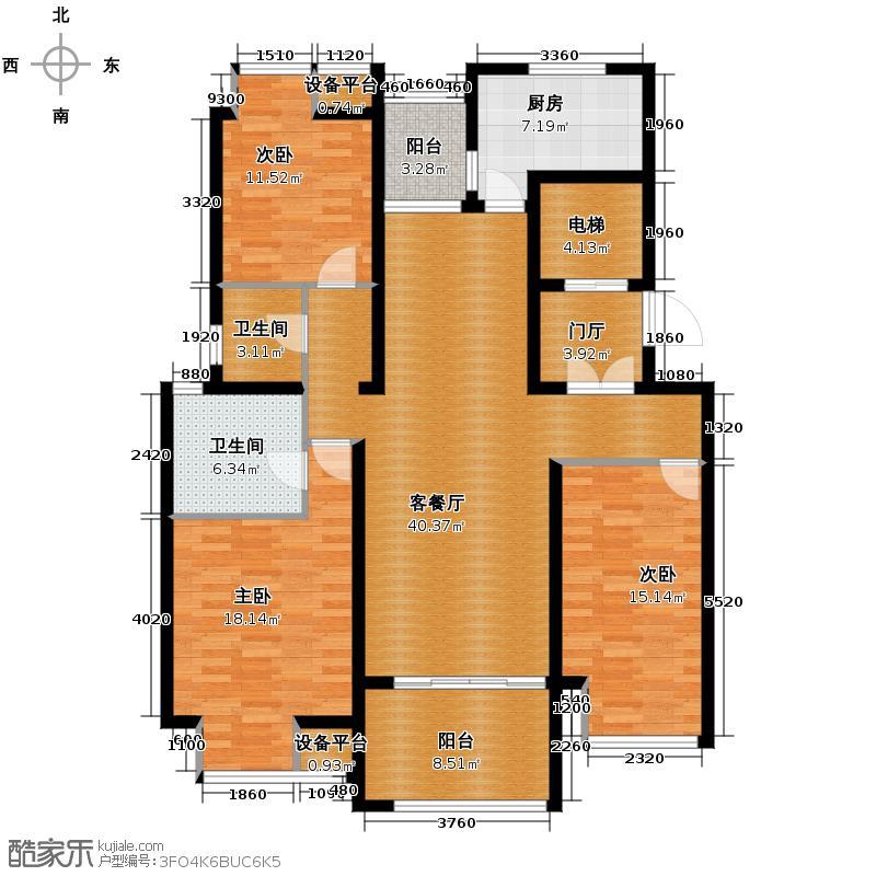 保利香槟国际142.00㎡B-1户型3室1厅2卫1厨