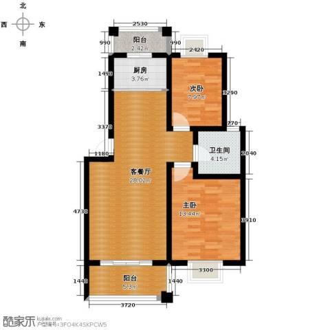 双湖明珠2室1厅1卫1厨88.00㎡户型图