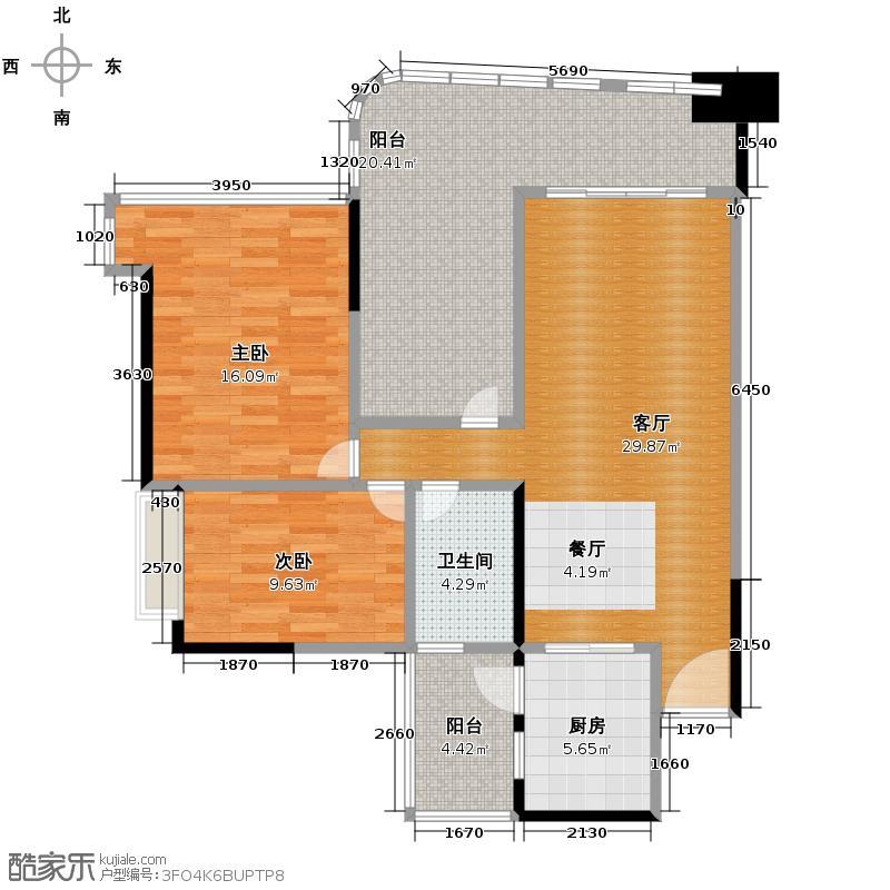 顺德雅居乐花园94.04㎡32座03/04单元户型2室2厅1卫