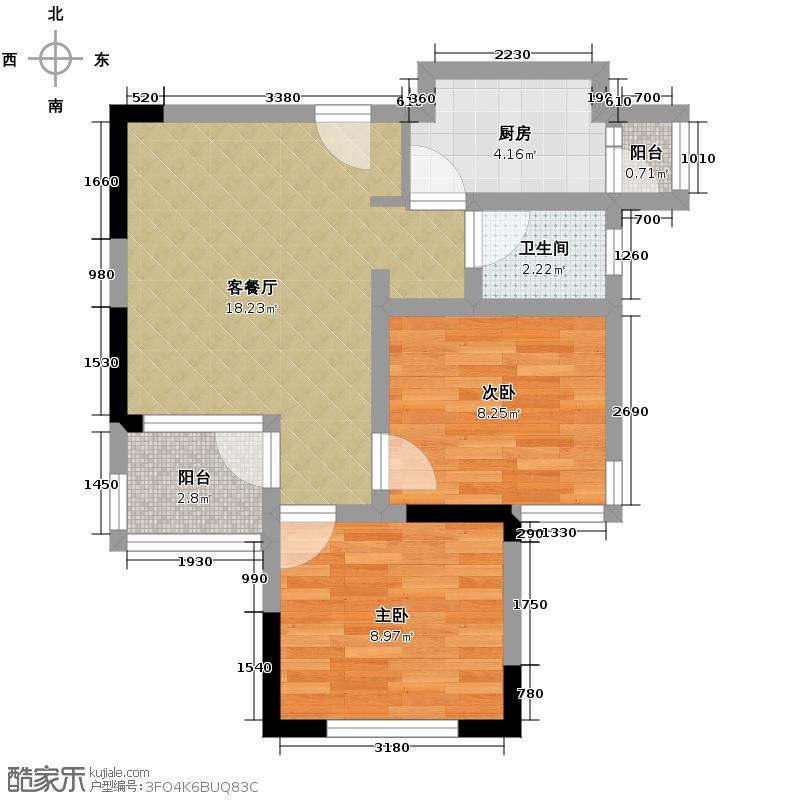 西湖一品56.85㎡户型2室2厅1卫
