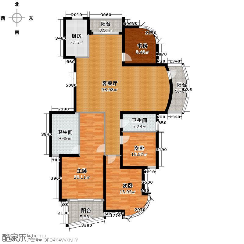 翡翠城156.00㎡芦苑6号楼C2(已售完)户型4室1厅2卫1厨