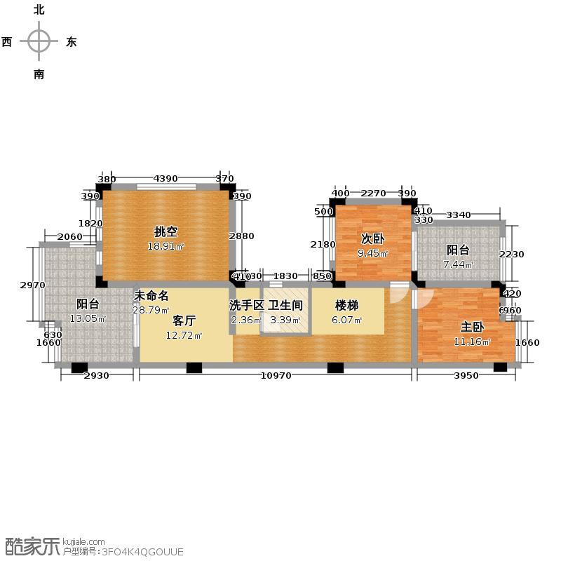 成都国奥村255.00㎡b型二层户型2室1卫