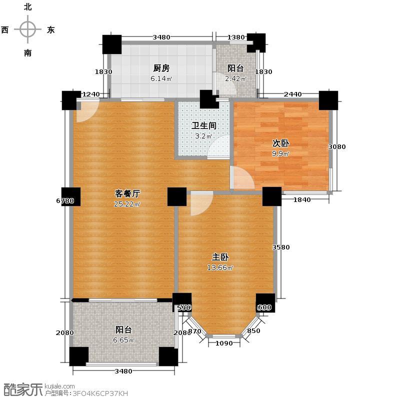 祈福南湾半岛77.68㎡洋房2B单位户型2室2厅1卫